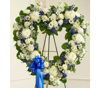 Always Remember Floral Heart Tribute-Blue & White in Whittier CA, Ginza Florist