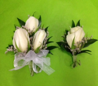 White rose boutonni�re in Oakland CA, J. Miller Flowers and Gifts