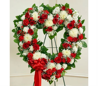 Always Remember Floral Heart Tribute-Red & White in Whittier CA, Ginza Florist