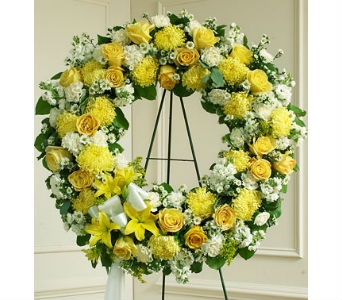 Serene Blessings Standing Wreath - Yellow in Whittier CA, Ginza Florist