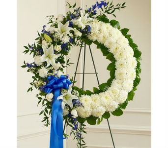 Serene Blessings Standing Wreath-Blue & White in Whittier CA, Ginza Florist