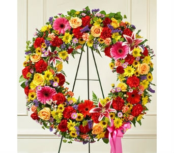 Serene Blessings Standing Wreath - Bright in Whittier CA, Ginza Florist