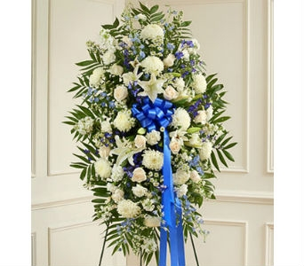 Deepest Sympathies Standing Spray - Blue & White in Whittier CA, Ginza Florist