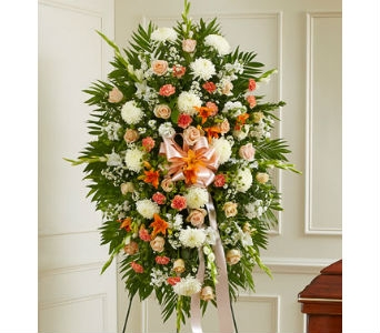 Deepest Sympathy Standing Spray-Peach/Orange/White in Whittier CA, Ginza Florist