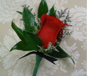 Regal Red Rose Boutonniere in Saratoga Springs NY, Dehn's Flowers & Greenhouses, Inc