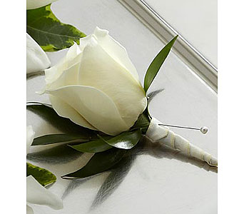 White Rose Boutonniere in Barrie ON, The Flower Place
