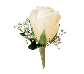 White Ice Rose Boutonniere in Fairfield CT, Hansen's Flower Shop and Greenhouse