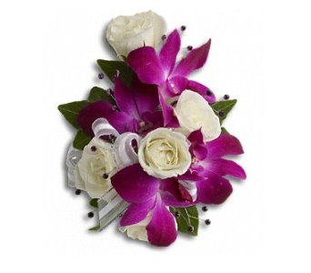 Fancy Orchids & Roses Wristlet in Norwalk CT, Bruce's Flowers & Greenhouses