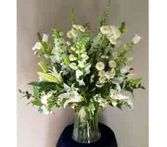 White Arrangements in Carmichael CA, Bettay's Flowers