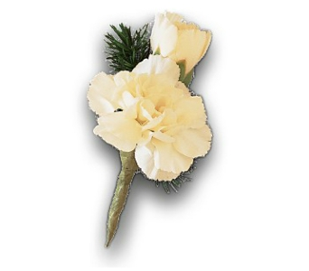 Miniature White Carnation Boutonniere in Monroe CT, Irene's Flower Shop