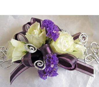 Plum Swirl Corsage in Amherst NY, The Trillium's Courtyard Florist