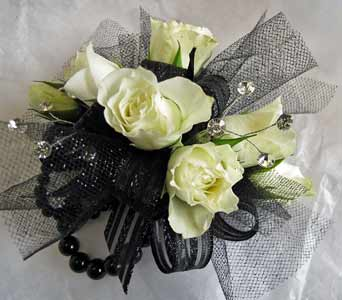 In Black and White Corsage in Amherst NY, The Trillium's Courtyard Florist