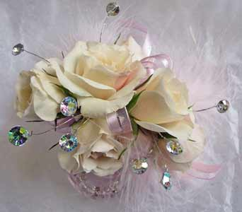 Soft Champagne Corsage in Amherst NY, The Trillium's Courtyard Florist