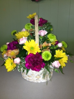 Spring Arrangement in Basket in Mooresville NC, All Occasions Florist & Boutique<br>704.799.0474