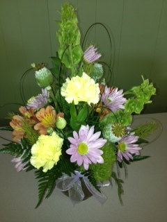 Spring Arrangement in Bubble Bowl in Mooresville NC, All Occasions Florist & Boutique<br>704.799.0474