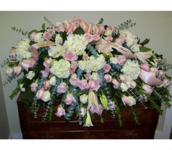 Soft Pink and White Casket Spray in Somerset NJ, Flower Station