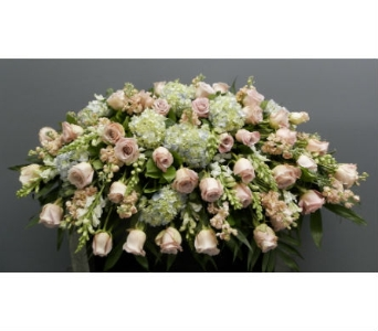 Soft Pink, Light Blue, and White Casket Spray in Somerset NJ, Flower Station