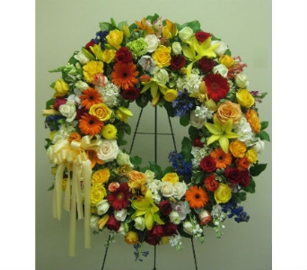 Bright Mix Wreath in Somerset NJ, Flower Station