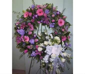 Pink & Purple Wreath in Somerset NJ, Flower Station