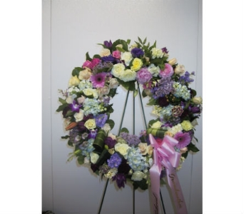 White, Lavender, Pink, and Purple Wreath in Somerset NJ, Flower Station