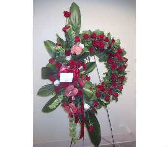 Tropical Red Rose Wreath in Somerset NJ, Flower Station