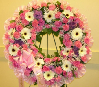 Pink & White Wreath in Somerset NJ, Flower Station