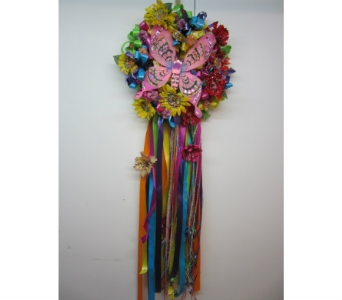 Fiesta Pink Butterfly Wreath in San Antonio TX, Allen's Flowers & Gifts