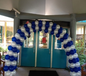 White & Blue Balloon Arch in Somerset NJ, Flower Station
