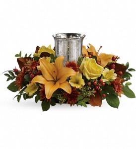 Glowing Gathering Centerpiece by Teleflora in Oakland MD, Green Acres Flower Basket