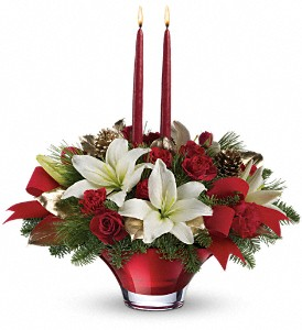 Teleflora's Crimson Glow Centerpiece in Grass Lake MI, Designs By Judy