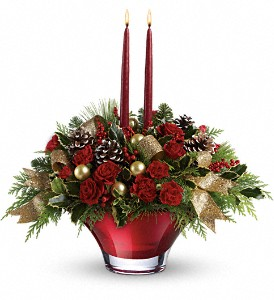 Teleflora's Holiday Flair Centerpiece in Ft. Lauderdale FL, Jim Threlkel Florist