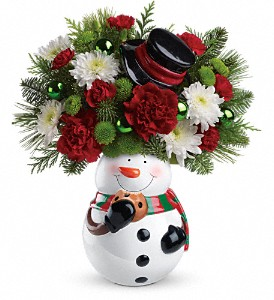 Teleflora's Snowman Cookie Jar Bouquet in Oklahoma City OK, Array of Flowers & Gifts