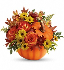 Teleflora's Warm Fall Wishes Bouquet in Lindon UT, Bed of Roses