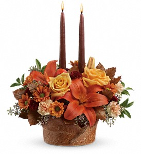 Teleflora's Wrapped In Autumn Centerpiece in Depew NY, Elaine's Flower Shoppe