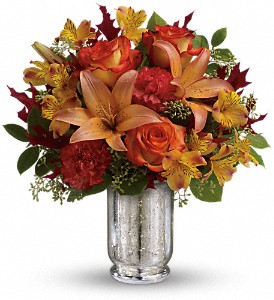 Teleflora's Fall Blush Bouquet in Houston TX, Village Greenery & Flowers