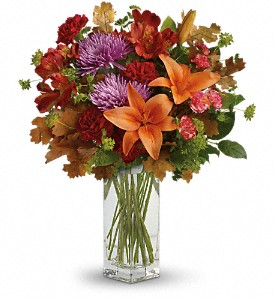 Teleflora's Fall Brights Bouquet in East Quogue NY, Roses And Rice
