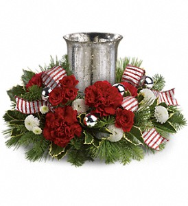 Teleflora's Holly Jolly Centerpiece in East Providence RI, Carousel of Flowers & Gifts