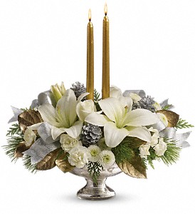 Teleflora's Silver And Gold Centerpiece in Grass Lake MI, Designs By Judy