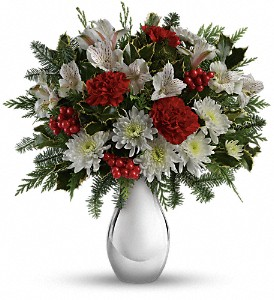 Teleflora's Silver And Snowflakes Bouquet in Seattle WA, Northgate Rosegarden