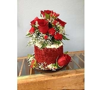 Red Velvet Cake with Red Roses in Portland OR, Portland Florist Shop