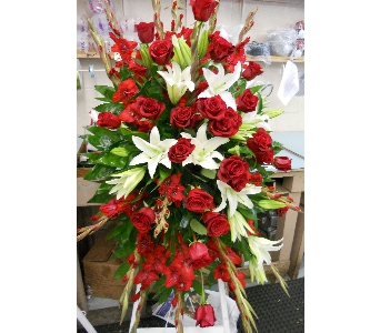 Red Rose - White Lily Standing Spray in Nashville TN, Emma's Flowers & Gifts, Inc.