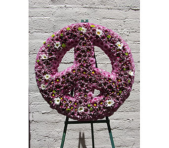 Peace Sign Tribute in West Los Angeles CA, Westwood Flower Garden
