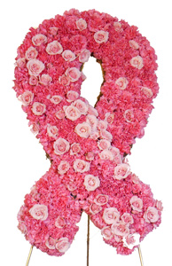 Custom - Breast Cancer Ribbon Flower Spray in Dallas TX, Dr Delphinium Designs & Events