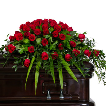 Splendor - Half Rose Casket Flowers in Dallas TX, Dr Delphinium Designs & Events