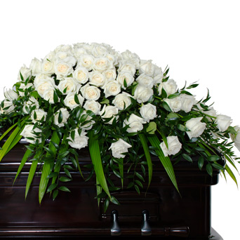 Splendor - White Rose Full Casket Flowers in Dallas TX, Dr Delphinium Designs & Events