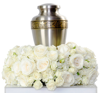 Grace - White Cremation Flowers in Dallas TX, Dr Delphinium Designs & Events