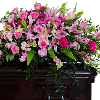 Grace - Mix Pink Full/Half Casket Flowers in Dallas TX, Dr Delphinium Designs & Events