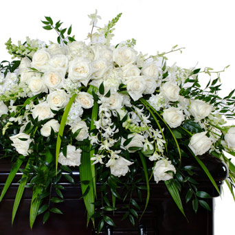 Grace - White Full/Half Casket Flowers in Dallas TX, Dr Delphinium Designs & Events