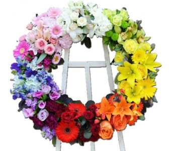 Rainbow Wreath  in Princeton, Plainsboro, & Trenton NJ, Monday Morning Flower and Balloon Co.