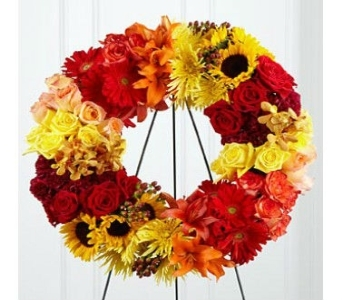 Blazing Bloom Wreath  in Princeton, Plainsboro, & Trenton NJ, Monday Morning Flower and Balloon Co.